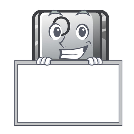 Grinning with board button O isolated in the cartoon vector illustration