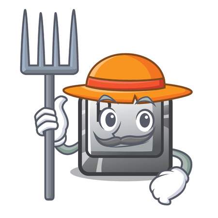 Farmer P button installed on cartoon computer vector illustration