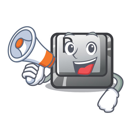 With megaphone P button installed on cartoon computer vector illustration