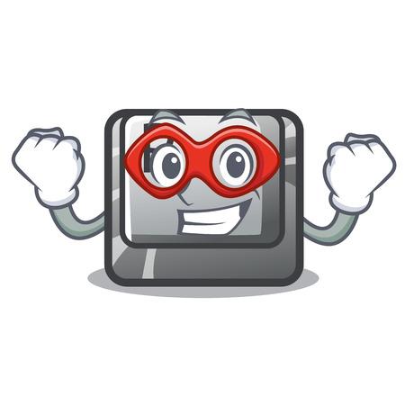 Super hero button P in the shape mascot Ilustração