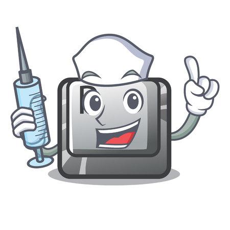 Nurse button P in the shape mascot vector illustration