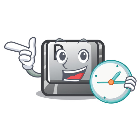 With clock button P in the shape mascot vector illustration
