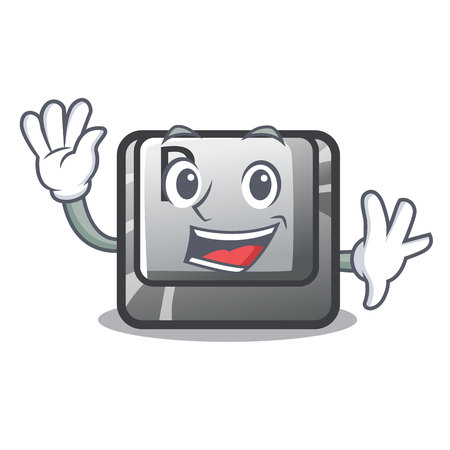 Waving button P in the shape mascot vector illustration