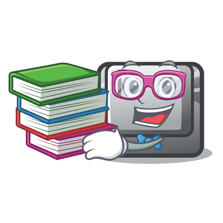 Student with book button P on a game cartoon vector illustration Illustration