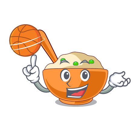 With basketball mashed potatoes served in character bowls vector illustration