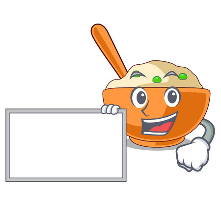 With board mashed potatoes served in character bowls vector illustration