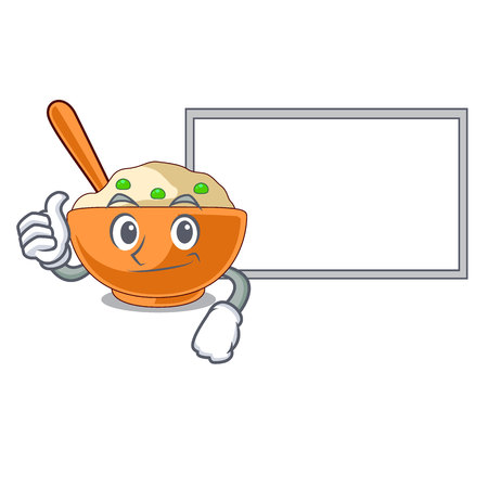 Thumbs up with board mashed potatoes served in character bowls vector illustration 일러스트
