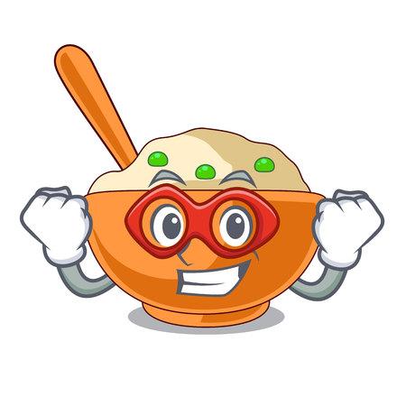 Super hero mashed potato isolated with the cartoon Illustration