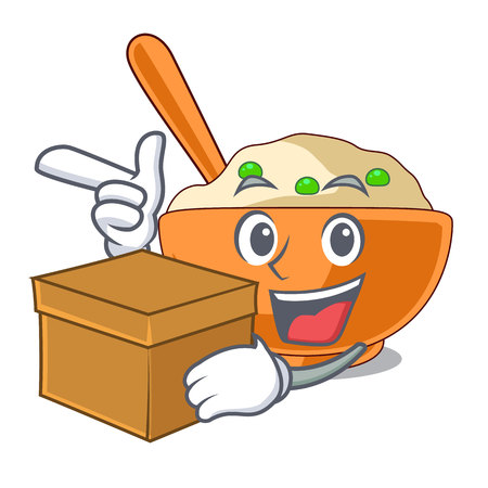 With box mashed potato isolated with the cartoon vector illustration