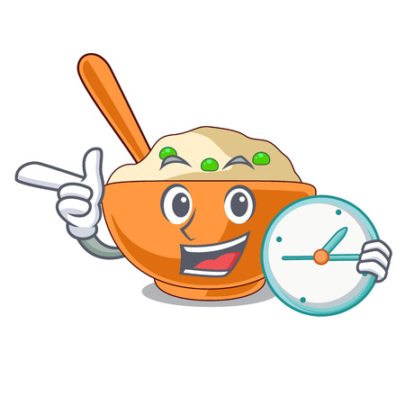 With clock mashed potato isolated with the cartoon vector illustration
