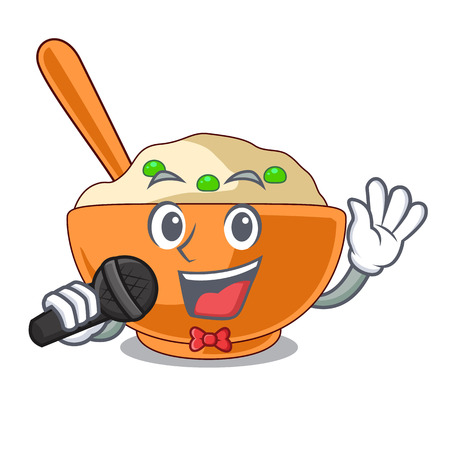 Singing mashed potato in the shape mascot vector illustration