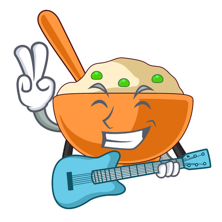 With guitar mashed potato in the shape mascot vector illustration Ilustração