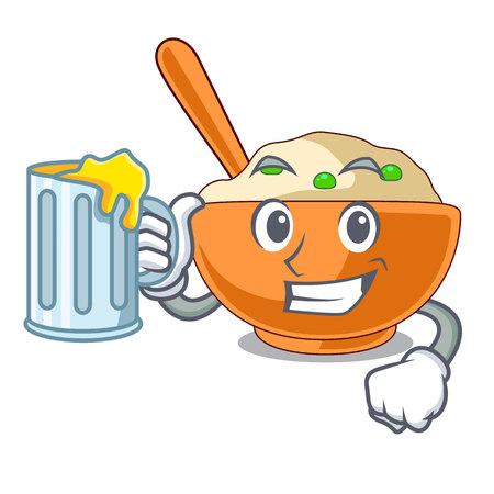 With juice mashed potato in the shape mascot vector illustration Ilustração