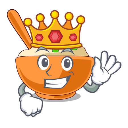 King mashed potato above in cartoon plate vector illustration