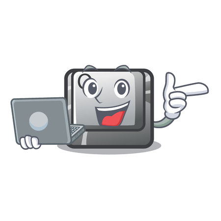 With laptop button Q isolated in the mascot vector illustration