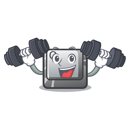 Fitness button Q isolated in the mascot vector illustration 向量圖像