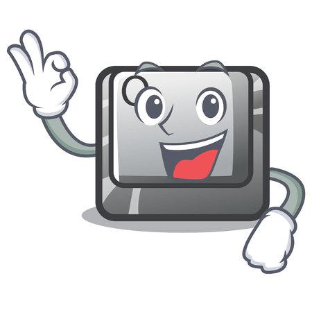 Okay Q button on the cartoon keyboard vector illustration