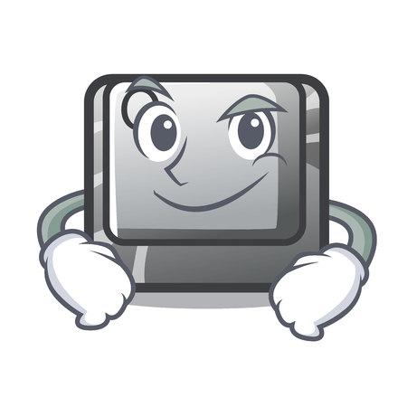 Botón Q sonriente en la ilustración de vector de teclado de dibujos animados