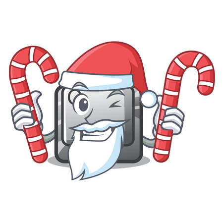 Santa with candy Q button installed on cartoon computer vector illustration