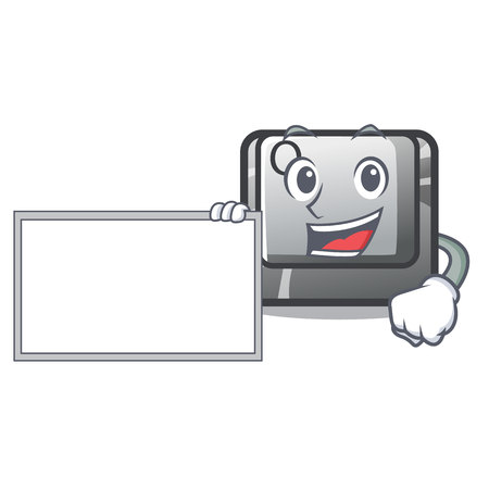 With board button Q isolated in the mascot vector illustration