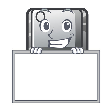 Grinning with board button Q isolated in the mascot