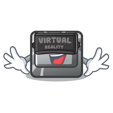 Virtual reality button Q in the character shape vector illustration Illustration