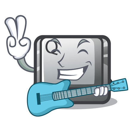 With guitar button Q in the character shape vector illustration