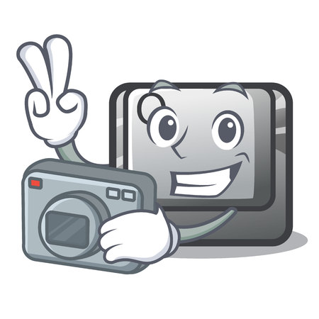 Photographer button Q in the character shape vector illustration