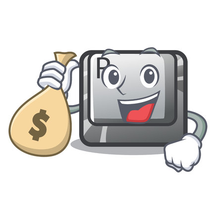 With money bag R button installed on cartoon keyboard vector illustration Ilustração