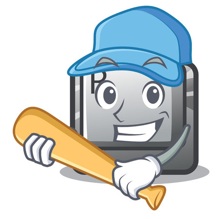 Playing baseball R button installed on cartoon keyboard vector illustration
