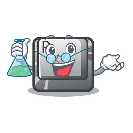 Professor button R isolated with the cartoon vector illustration Illustration