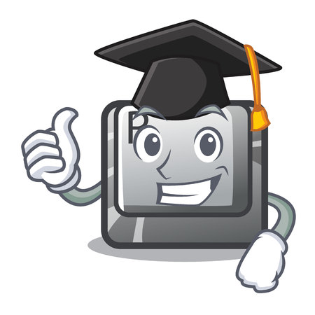 Graduation button R isolated with the cartoon vector illustration