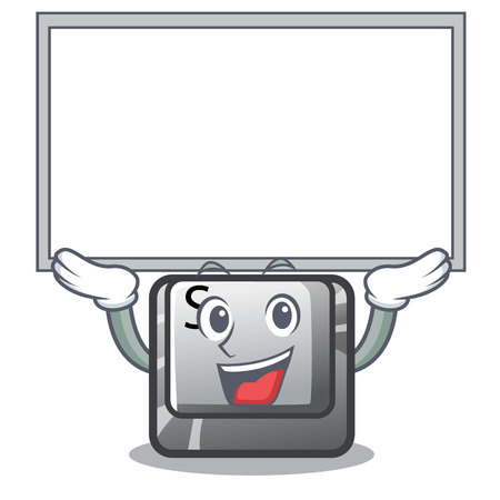 Up board button S in the cartoon shape vector illustration