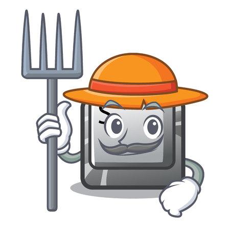 Farmer button S in the cartoon shape vector illustration Ilustração