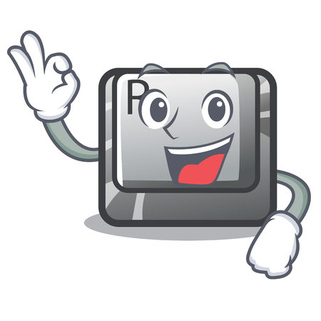 Okay button R isolated with the cartoon vector illustration Ilustração