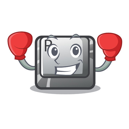 Boxing R button installed on cartoon keyboard vector illustration
