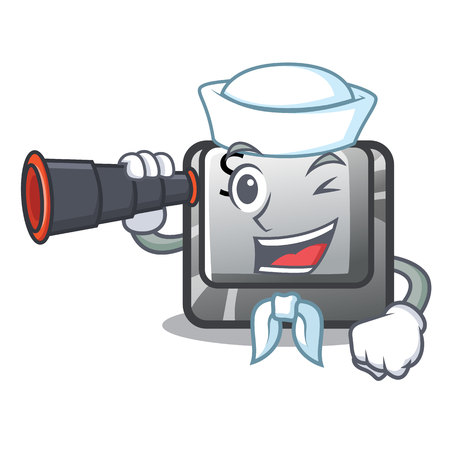 Sailor with binocular button S on a computer cartoon vector illustration