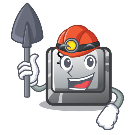 Miner button S on a computer cartoon vector illustration