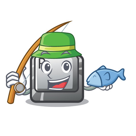 Fishing button R in the mascot shape vector illustration Illustration