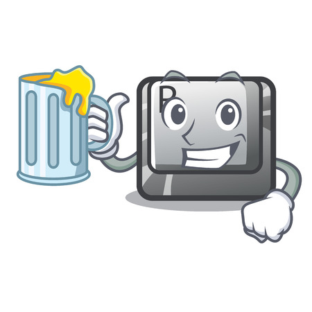 With juice button R in the mascot shape vector illustration