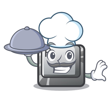 Chef with food button R in the mascot shape vector illustration