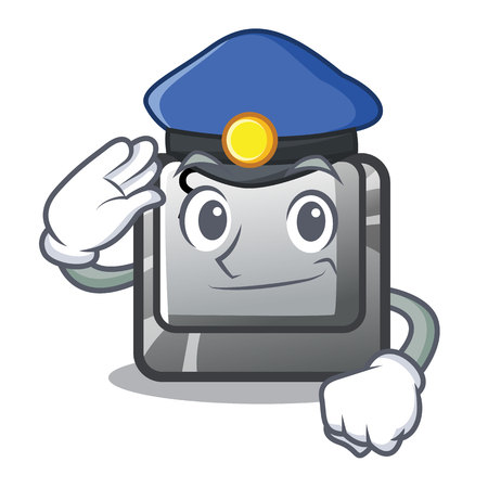 Police button S in the cartoon shape vector illustration