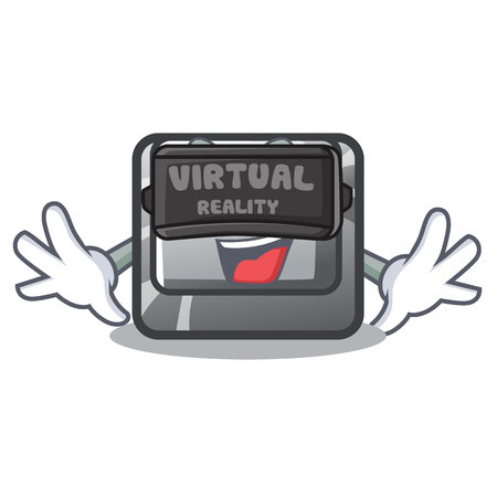 Virtual reality button S on a computer cartoon vector illustration