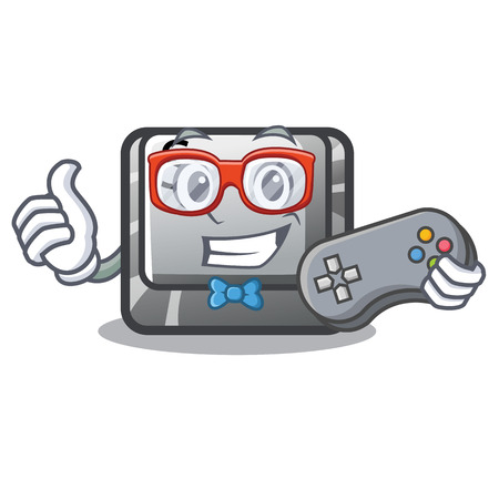Gamer button S on a computer cartoon vector illustration