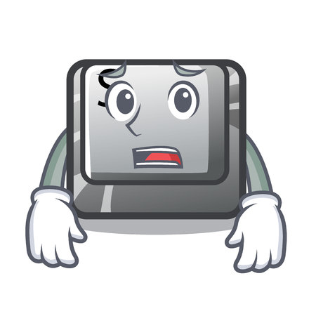 Afraid button S on a computer cartoon vector illustration