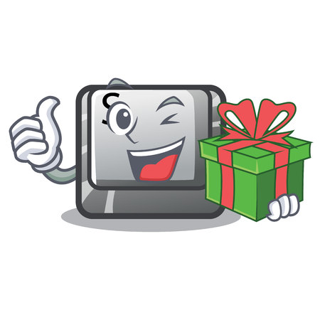 With gift button S on a computer cartoon vector illustration Vettoriali