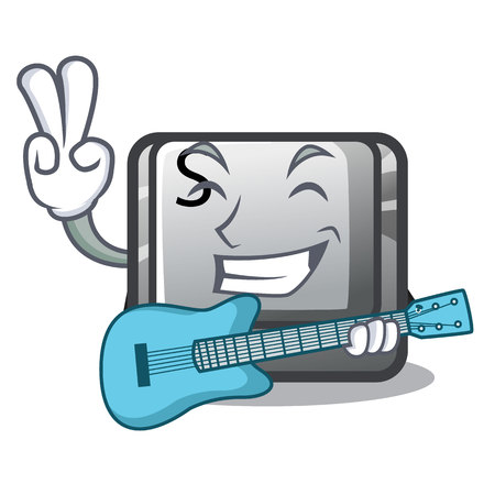 With guitar button S on a computer cartoon vector illustration Illustration