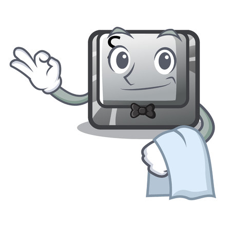 Waiter button S on a computer cartoon vector illustration