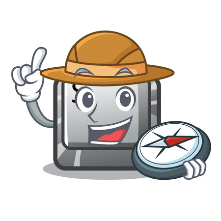 Explorer button S on a computer cartoon vector illustration