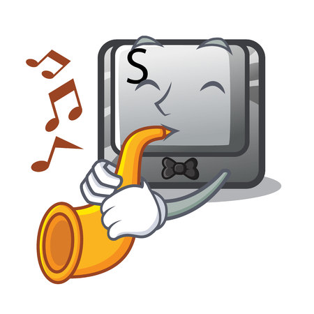With trumpet button S on a computer cartoon vector illustration